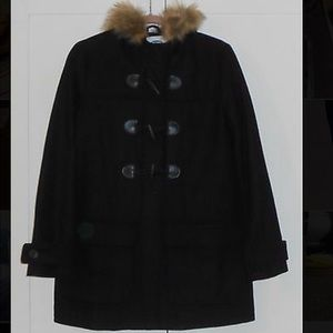 Old Navy Faux Fur Trim Hooded Toggle Coat